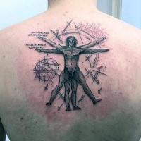 Old school style black ink upper back tattoo of Vitruvian man with lettering