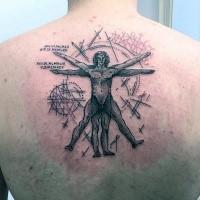 Tatuaggio in alto a inchiostro nero stile vecchia scuola di Vitruvio con scritte
