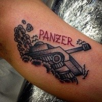 Old school style colored arm tattoo of small tank with lettering