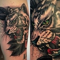 Old school style colored arm tattoo of white tiger with leaves