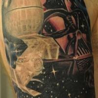 Tatuaje en el brazo, Darth Vader y naves imperiales, estilo old school