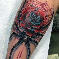 Old school style colored bloody spider tattoo on leg with rose
