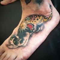 Old school style colored by horitomo foot tattoo of Manmon cat