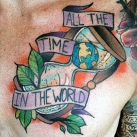 Old school style colored chest tattoo of big sand clock stylized with globe and lettering
