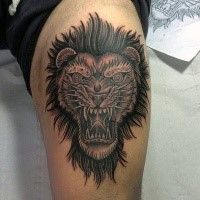 Old school style colored demonic lion head