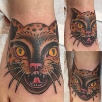 Old school style colored for girls tattoo of cat