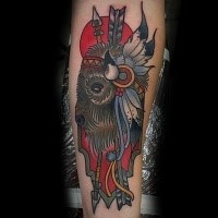 Old school style colored forearm tattoo of Indian bull and arrows