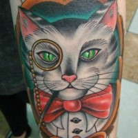 Old school style colored forearm tattoo of gentleman cat portrait