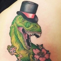 Old school style colored gentleman style dinosaur tattoo
