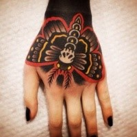 Old school style colored hand tattoo of cool butterfly