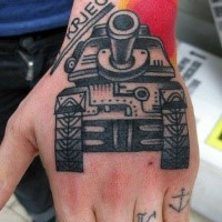 Old school style colored hand tattoo of big tank with lettering