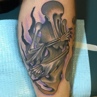 Old school style colored leg tattoo of mystical ghost