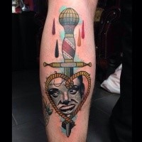 Old school style colored leg tattoo of dagger with rope and woman face
