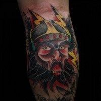 Old school style colored leg tattoo of fantasy warrior