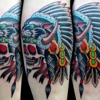 Old school style colored leg tattoo of Indian skull with black panther helmet