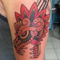 Old school style colored shoulder tattoo of evil dragon picture