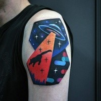 Old school style colored shoulder tattoo of alien ship with cat