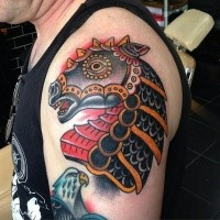 Old school style colored shoulder tattoo of fantasy Samurai horse