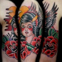 Old school style colored shoulder tattoo of old woman with roses and diamond
