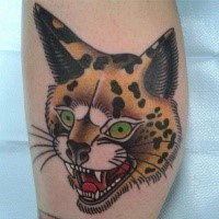 Old school style colored small tattoo of caracal head