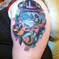 Old school style colored smoking gentleman sloth with flowers tattoo on shoulder