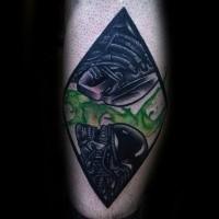Old school style colored tattoo of Alien vs Predator