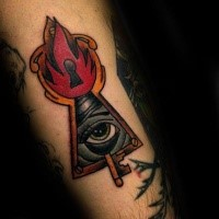 Old school style colored tattoo of burning keyhole with eye