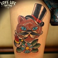 Old school style colored tattoo of cat with smoking pipe and flower