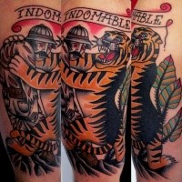 Old school style colored tattoo of dead man with tiger and lettering