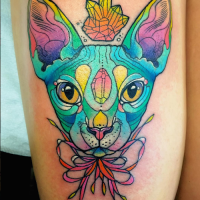 Old school style colored tattoo of Sphinx cat with jewelry