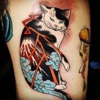 Old school style colored thigh tattoo of Manmon cat stylized with volcano and lightning