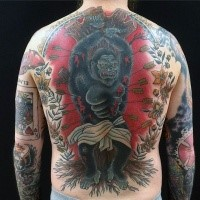 Old school style colored whole back tattoo of tied monkey with arrows