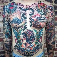 Old school style colored whole body tattoo of various pictures and join or die lettering