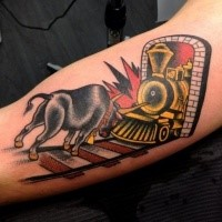 Old school style colorful biceps tattoo of train and bull