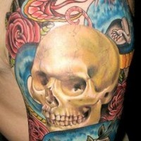 Old school style colorful human skull with snake and mouse tattoo on shoulder with flowers