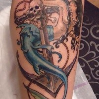 Old school style designed and colored forearm tattoo of seductive mermaid with anchor