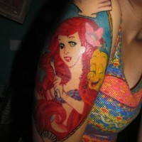 Old school style homemade like colored shoulder tattoo of cartoon mermaid Ariel portrait
