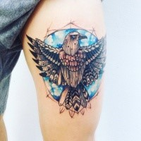 Old school style illustrative thigh tattoo of big bird