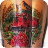 Old school style memorial colored modern train with rose