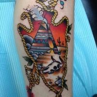 Oldschool Stil mehrfarbige antike Waffe mit indianischem Haus und Tierschädel Tattoo