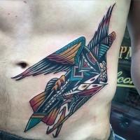 vecchia scuola stile multicolore aquila con spada tatuaggio su addome
