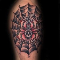 Old school style mystical spider stylized with human skull and web tattoo on shoulder