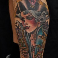 Old school style painted and colored smoking female pirate tattoo on leg