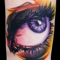vecchia scuola stilizzata dipinto colorato grande occhio tatuaggio su caviglia
