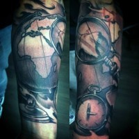 Old school style painted colored world map with compass and loupe old school style painted colored world map with compass and loupe tattoo on arm gumiabroncs Choice Image