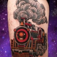 Old school style painted tattoo of train with lots of steam