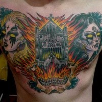 Old school style terrifying colored demon woman face with burning cathedral tattoo