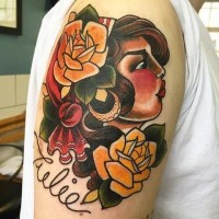 Old school style traditional pretty Gypsy woman and roses shoulder tattoo with lettering