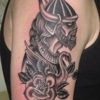 Old school viking tattoo on half sleeve