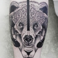 Old school vintage black ink half sheep half bear tattoo of forearm zone